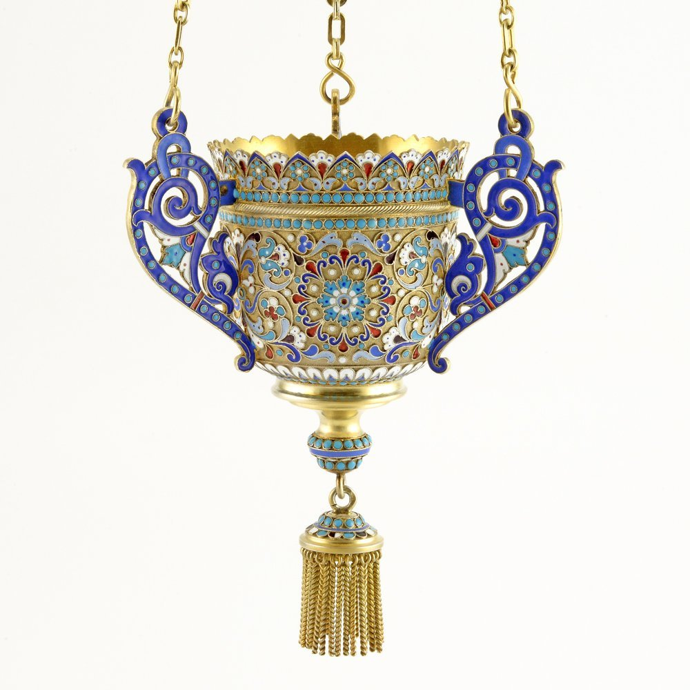 A Russian shaded cloisonné enamel lampada, c1899-1908 - 2