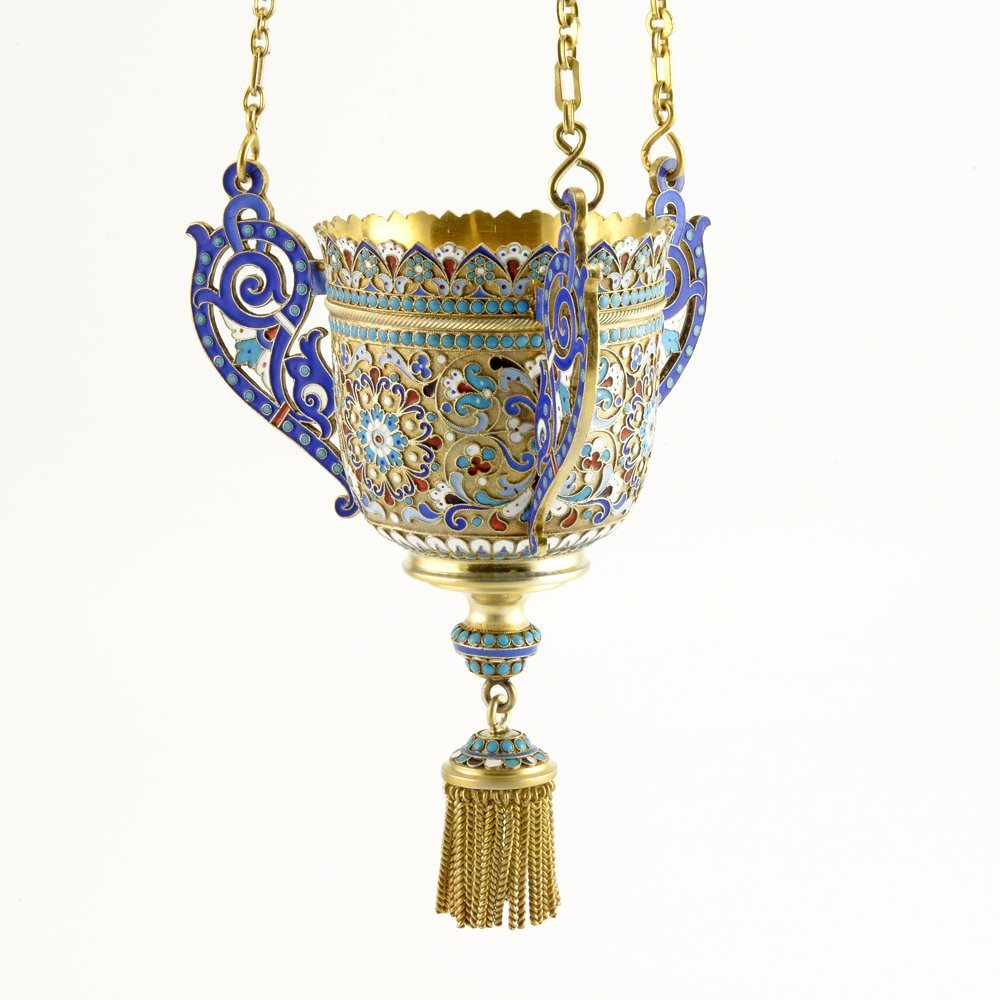 A Russian shaded cloisonné enamel lampada, c1899-1908 - 3