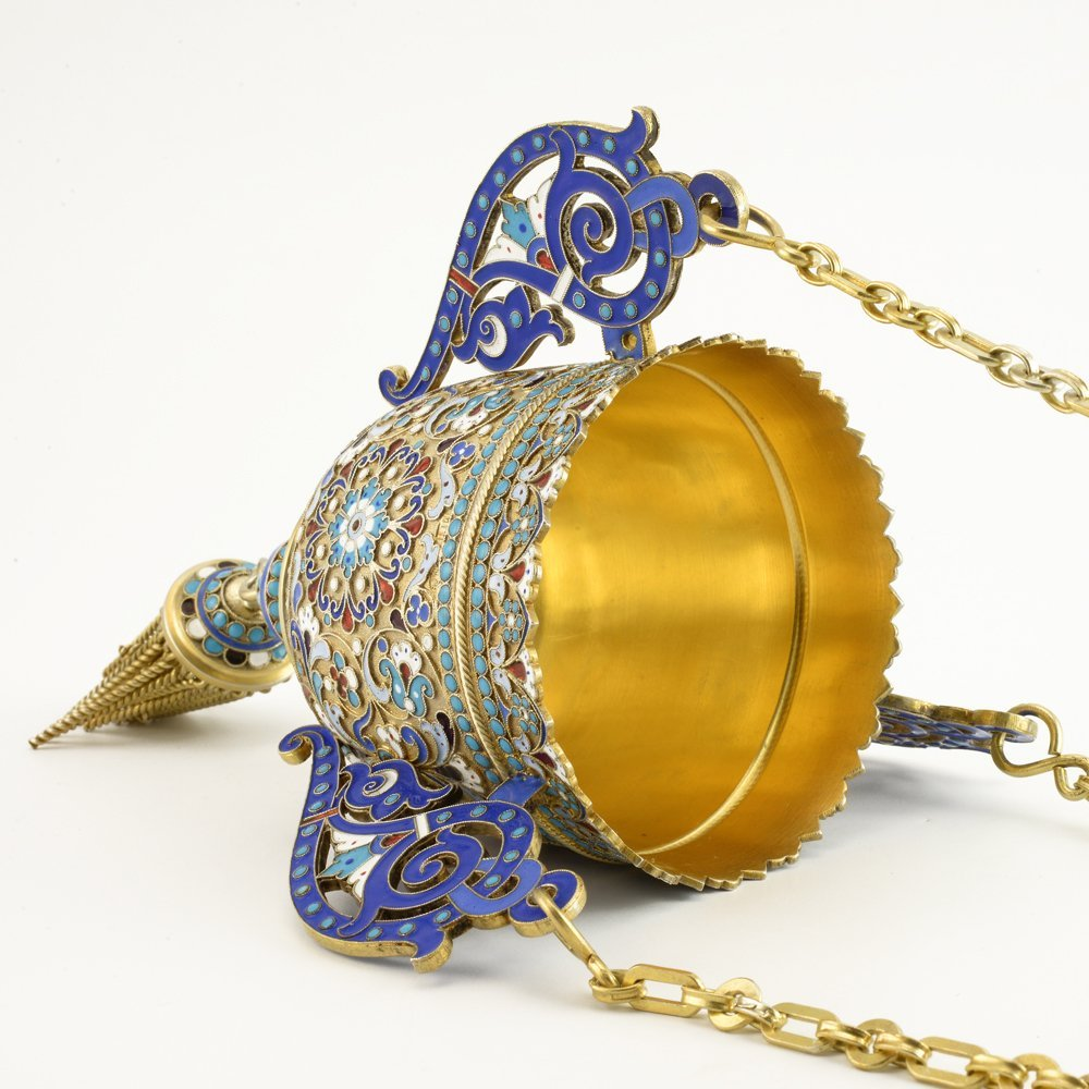 A Russian shaded cloisonné enamel lampada, c1899-1908 - 4
