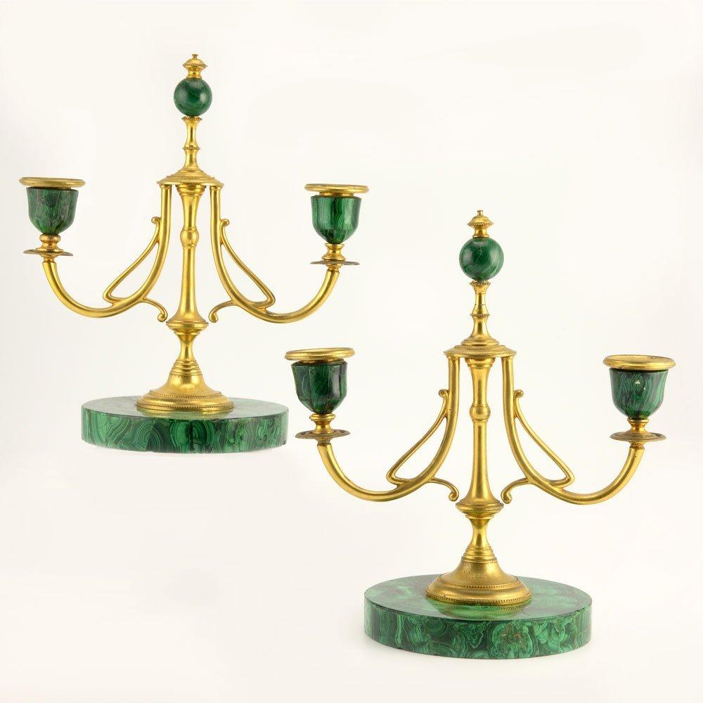 Russian gilt bronze & malachite candlesticks, ca1900