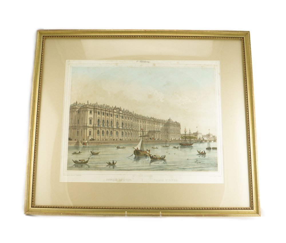 Handcolored print with View of the Winter Palace