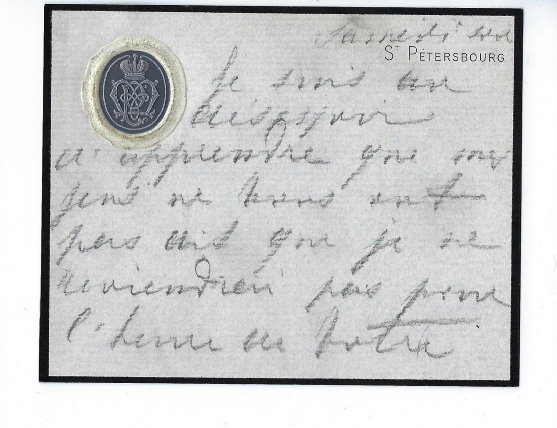 An autographed letter of Grand Duchess Maria Pavlovna