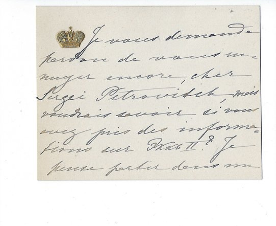 Grand Duchess Olga Feodorovna: An autographed letter