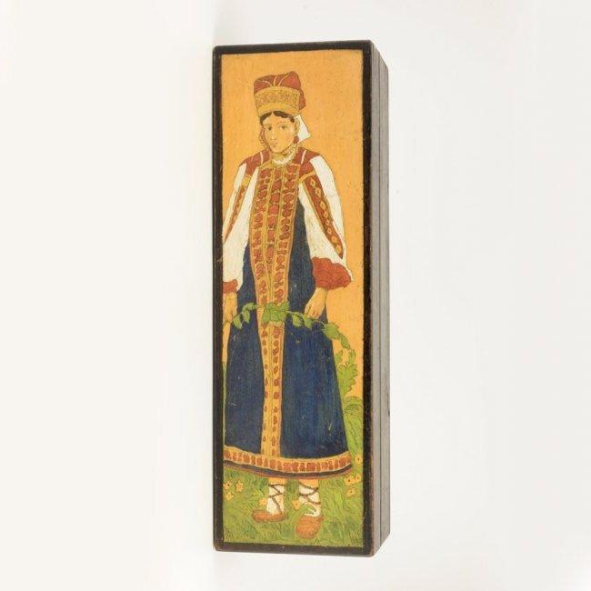 A Russian folk or kustar art carved wood box, ca 1910