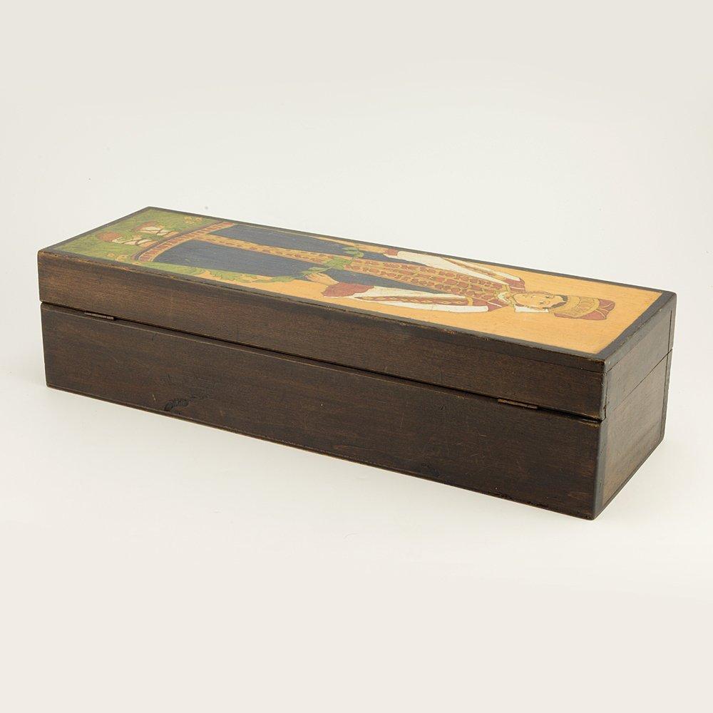 A Russian folk or kustar art carved wood box, ca 1910 - 4