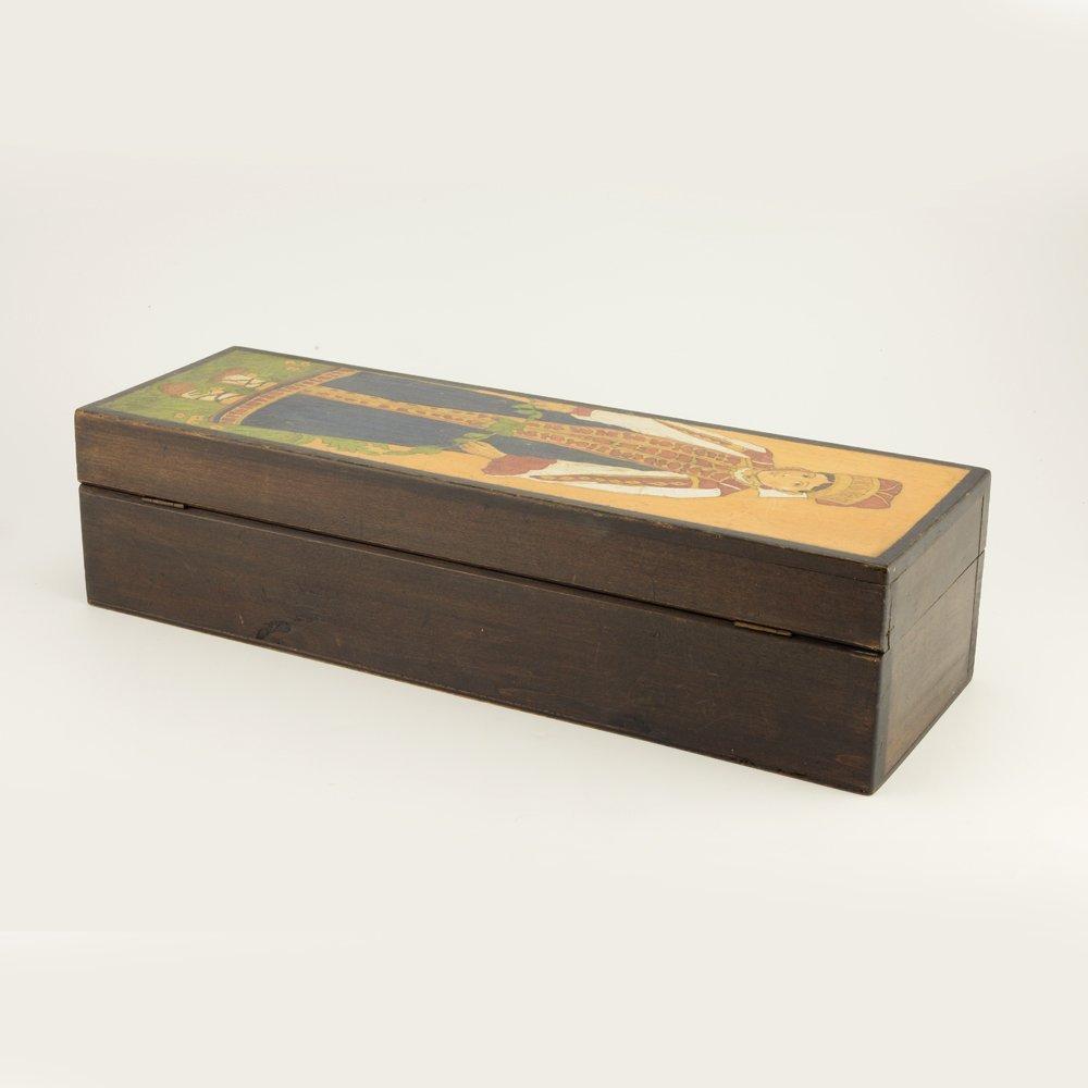 A Russian folk or kustar art carved wood box, ca 1910 - 5