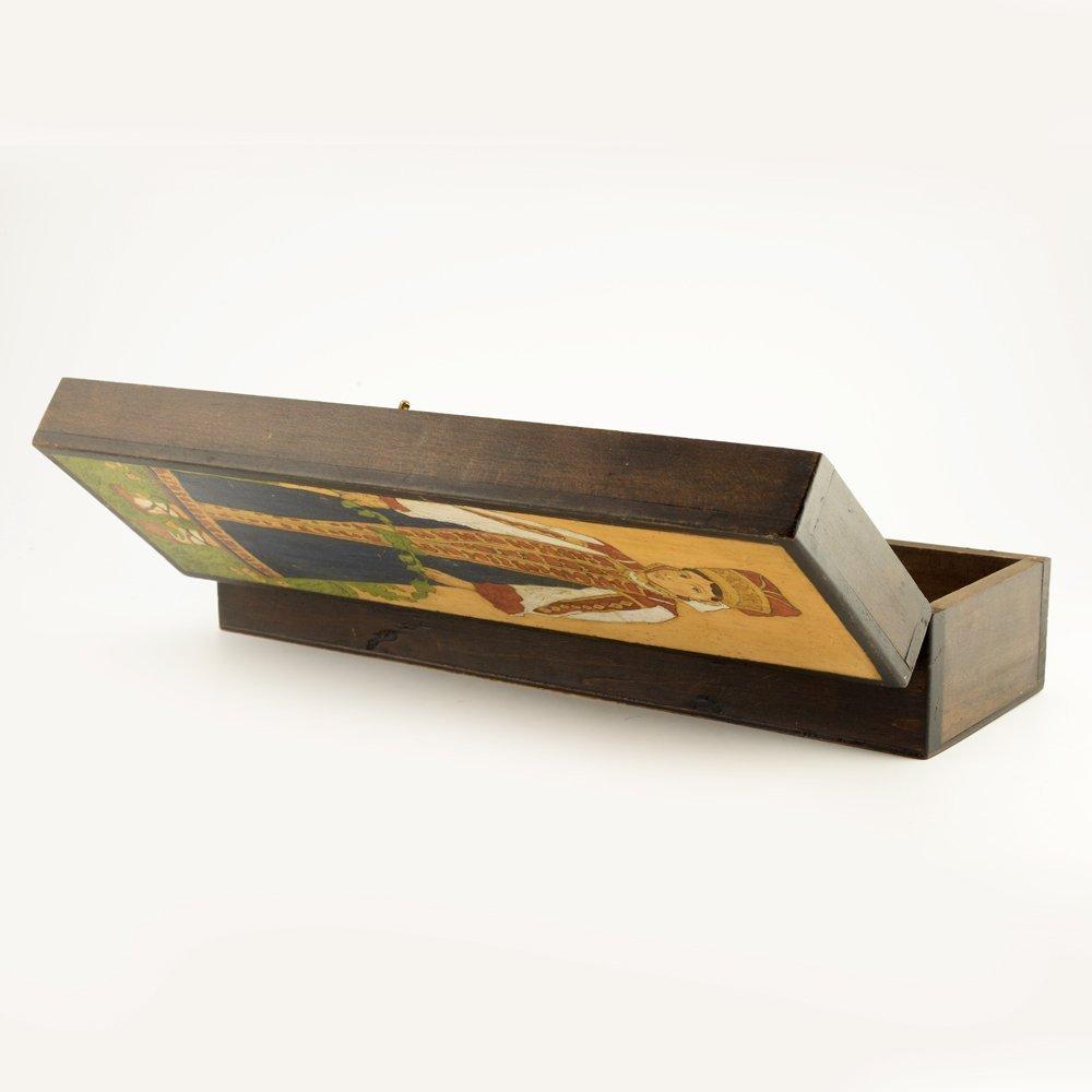 A Russian folk or kustar art carved wood box, ca 1910 - 6