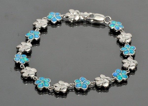 Sterling and Blue Enamel Floral Bracelet