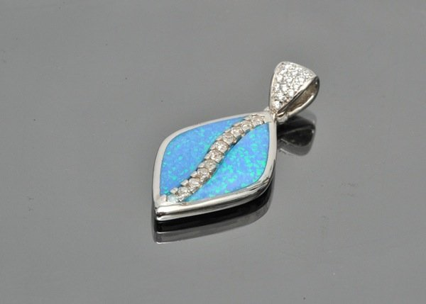 Sterling Silver Pendant with Blue Opal Inlay