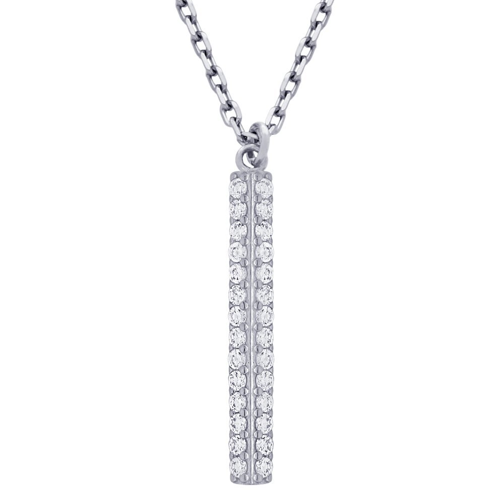 Bar Necklace with 4 rows of CZ and a Chain