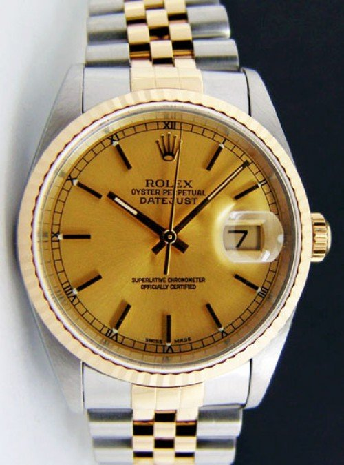 Preowned Rolex Datejust 16233 with Champagne Dial