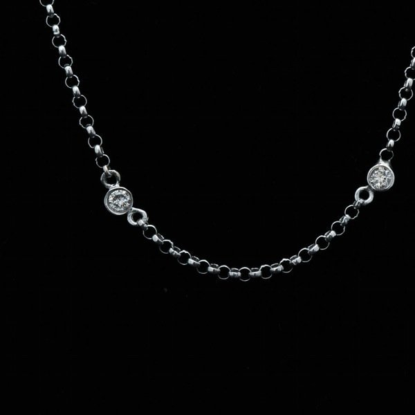 14K White Gold .30 CWT Diamonds By The Yard Necklace