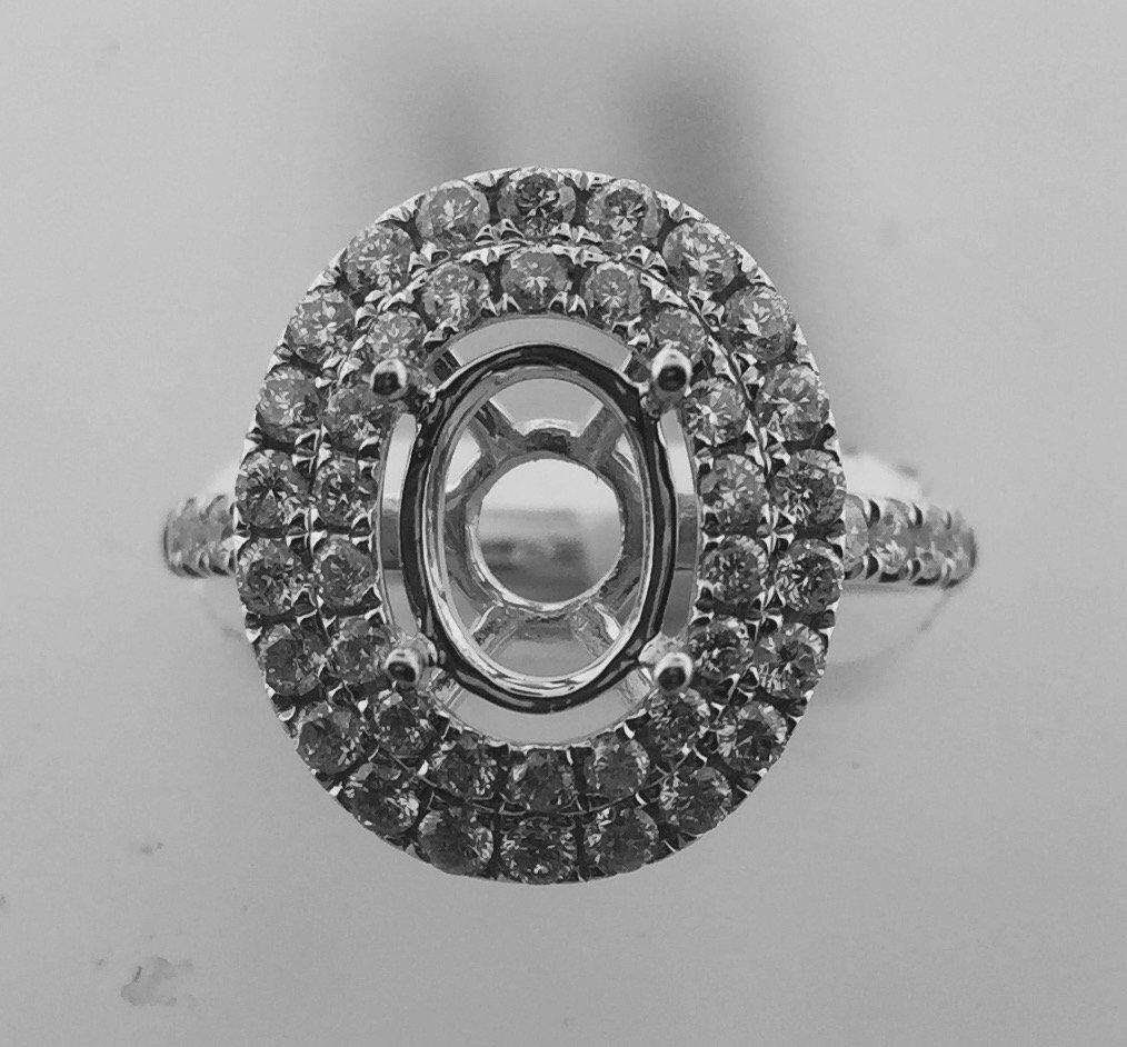 14kt Double Halo Semi Mount Ring 0.92 carats Diamonds