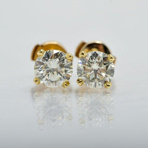 14k Yellow Gold 2.00 CTW Diamond Earrings