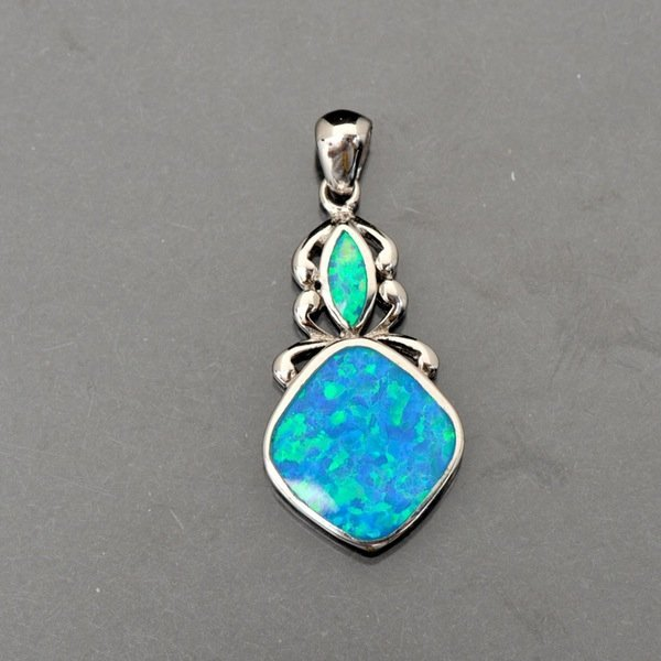 Sterling Silver Pendant with Synthetic Blue Opal