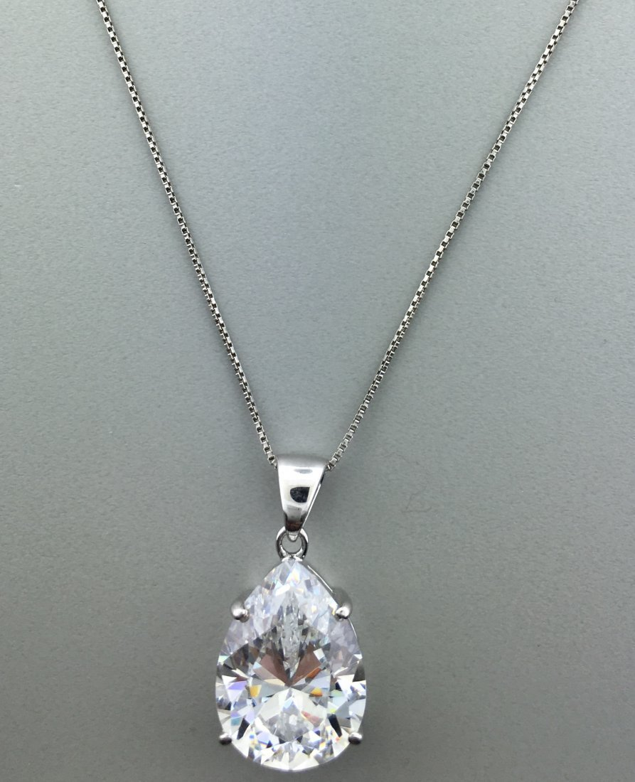 Sterling Silver Pendant with Pear Shaped CZ