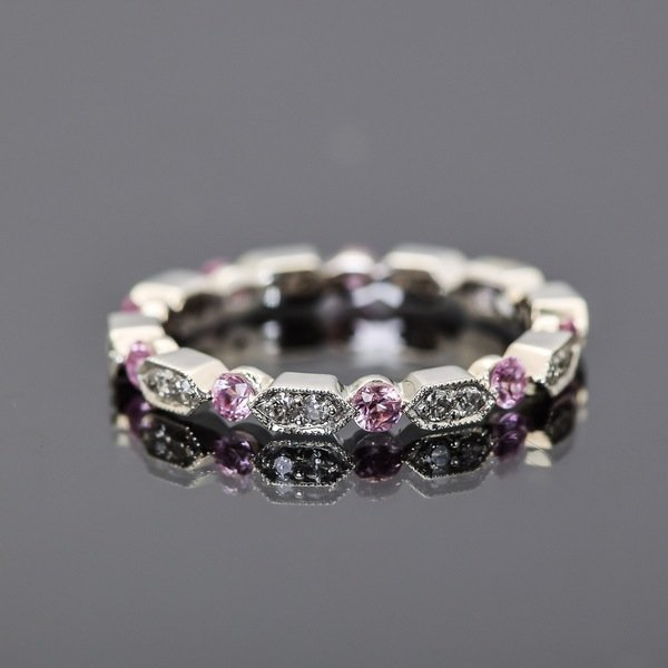 18K White Gold, Diamond and Pink Sapphire Stacking Ring