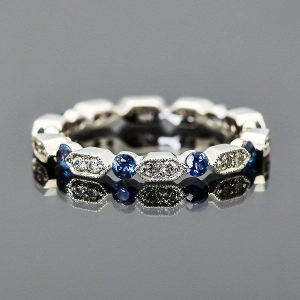 18K White Gold, Diamond and Sapphire Ring
