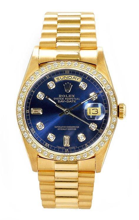 Rolex Men's President YG Custom Diamond Bezel & Dial