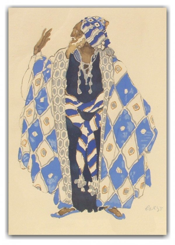 21: LEON BAKST SIGNED LITHO & WC (Russian 1866-1924)