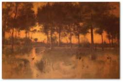100: GEORGE INNESS STONE LITHO (American 1825-1894)
