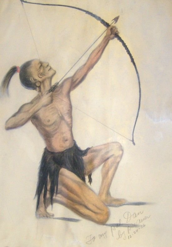 1005: INDIAN W/ BOW AND ARROW - WILLIAM AUER PASTEL