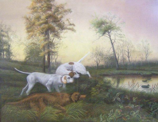 1007: HUNTING DOGS -  BARSFOOT - 1904 PASTEL