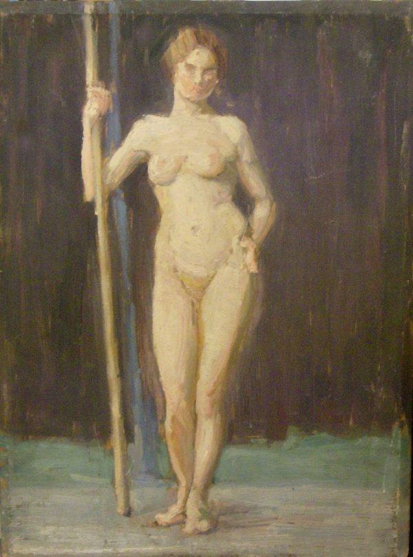 1054: NUDE FEMALE - GRACE HAMILTON OIL ON PANEL
