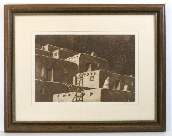 6: HUFF - TAOS - SIGNED ETCHING (20th Century)