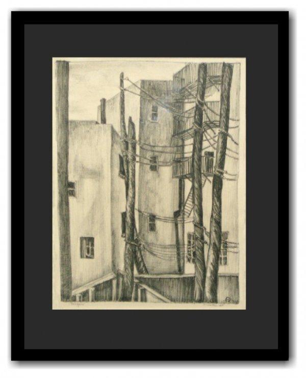 7: INA ANNETTE - BACKYARD LITHOGRAPH (Amer 1901-1991)