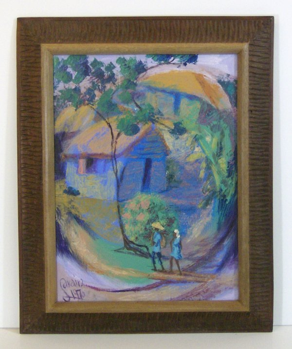 172: PETION SAVAIN - NATIVE HUT - OIL (Hatian 1903-1975