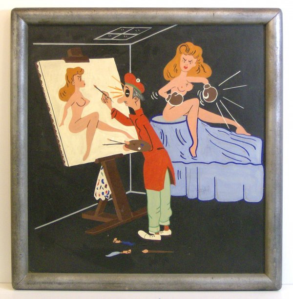 218: PAINTER AND BOXING NUDE WOMEN - OIL (20th Cent)