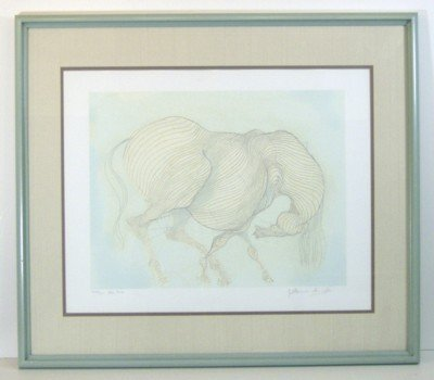 13: GUILLAUME AZOULAY-HORSE ETCHING (Morroco 1949)