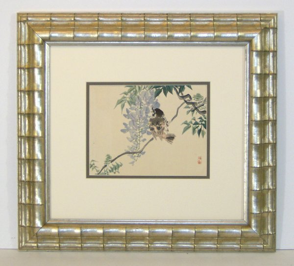 17: UNKNOWN-BIRD ON BRANCH-WOODCUT (Asian 20th Cent)