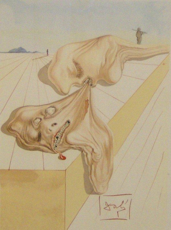 96: SALVADOR DALI-LITHOGRAPH-HELL CANTO (1904-1989)
