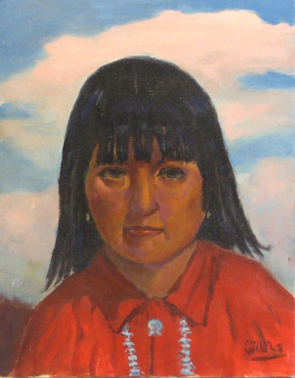 302: INDIAN CHILD-CHESTER WILLS-OIL/CANVAS
