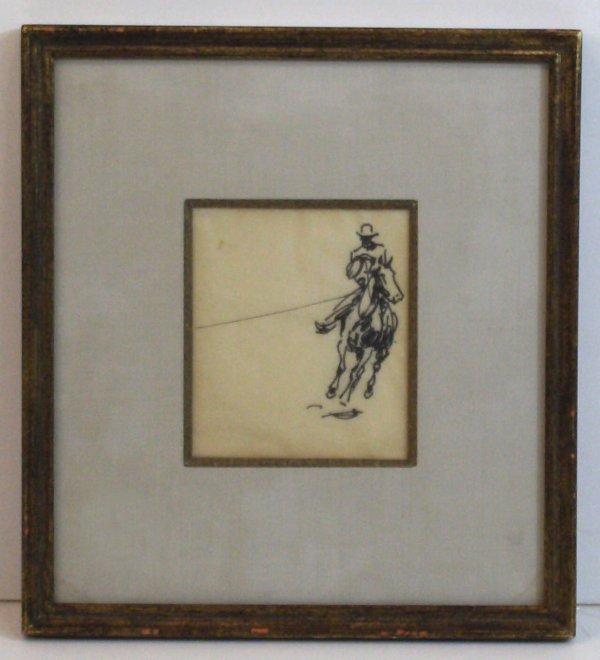 6: EDWARD BOREIN-INK WASH-COWBOY (Amer 1872-1945)