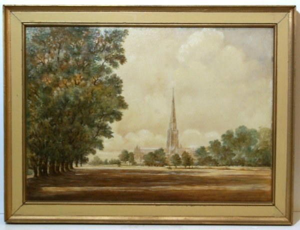 8: JOHN CONSTABLE STYLE-SALISBURY CATHEDRAL-OIL