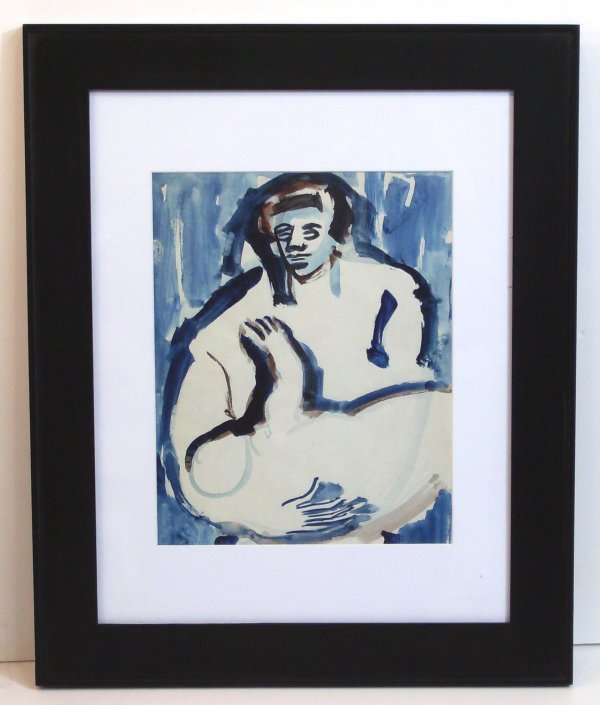 11: PAUL ENGLAND-MOTHER/CHILD WATERCOLOR (1918-1988)