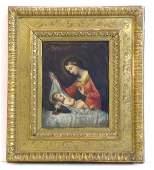35: CARAVAGGIO STYLE OIL-MADONNA/CHILD (1510-1610)