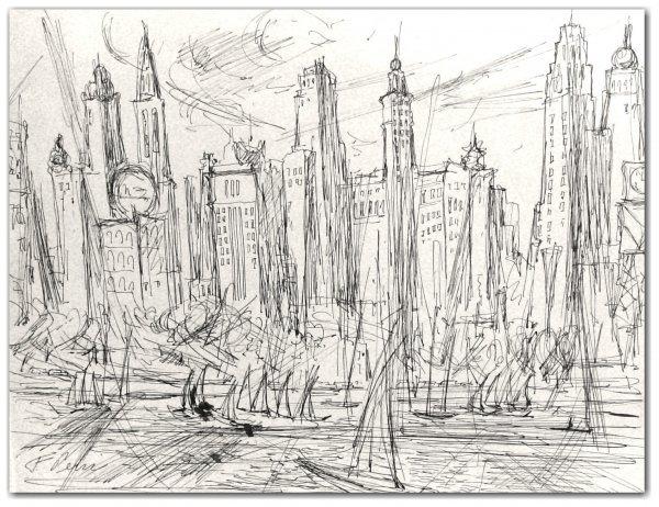 184: FRANK PERRI-INK DRAWING-CITYSCENE (Amer 1918-1999)