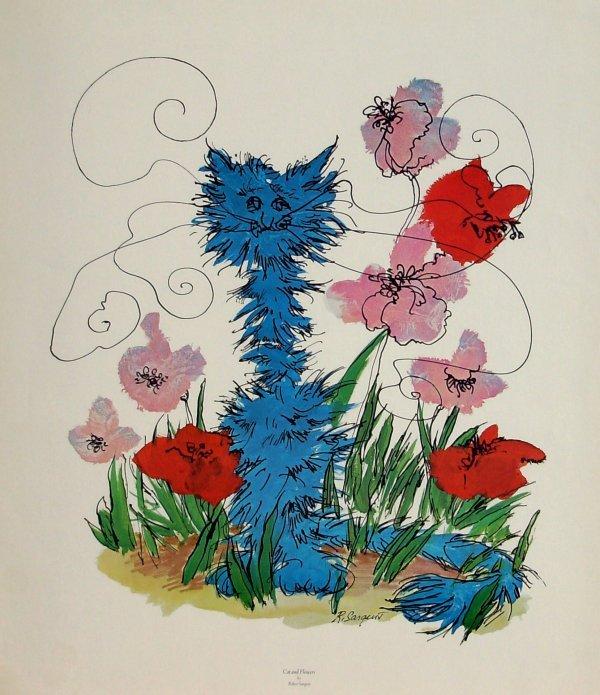 1002: ROBERT SARGENT-CAT & FLOWERS LITHO