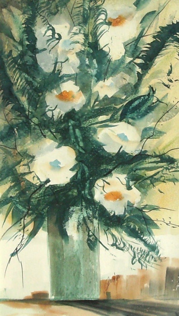 1005: TONY-FLOWERS IN VASE-WATERCOLOR