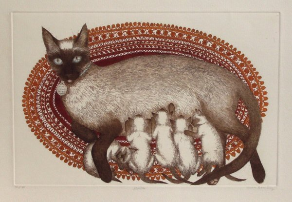1011: EUCA ROMLEY-KIMBA-SIGNED CAT ETCHING
