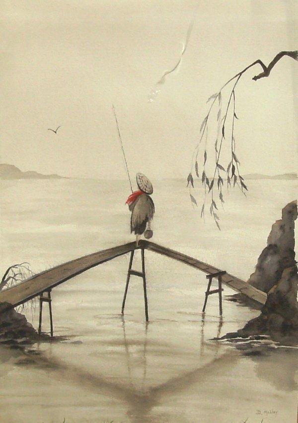 1016: D. MOBLEY - WATERCOLOR - ASIAN FISHERMAN