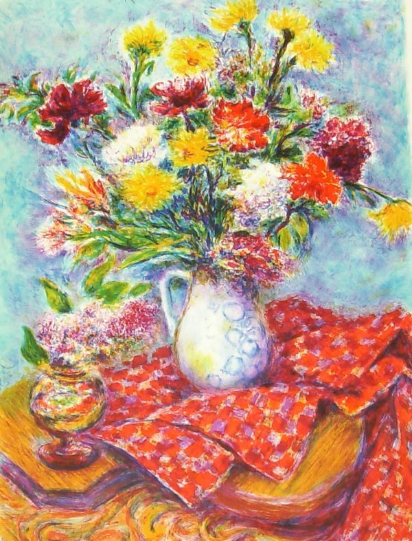 1020: MARKOWIX - RED TABLE CLOTH - SIGNED LITHOGRAPH