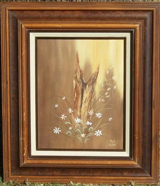 1194: FLOWERS - OIL ON CANVAS - SLC (20TH CENTURY)