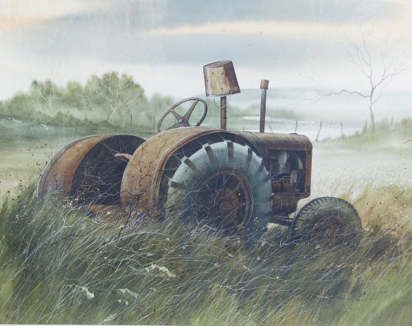 4: Robert Carver - Tractor - Watercolor (Amer 20th )