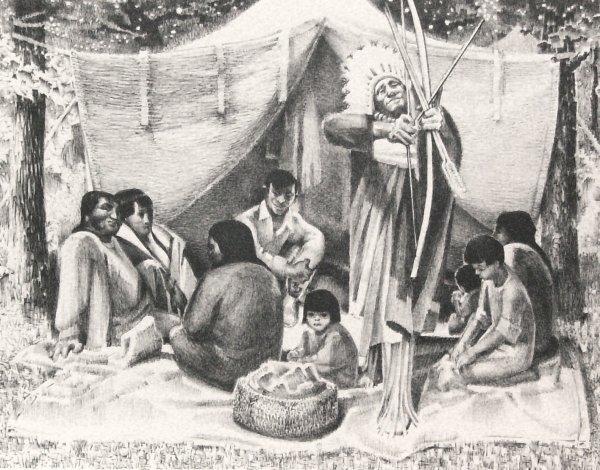 5: Leonard Good -Kiowa Campout-Litho (Amer b.1907)