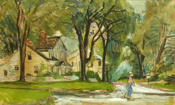 9: Unknown Watercolor-Landscape with Houses